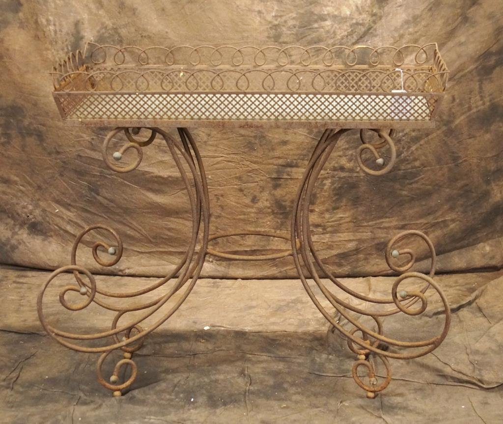 19th c French wrought iron planter - cottage style
