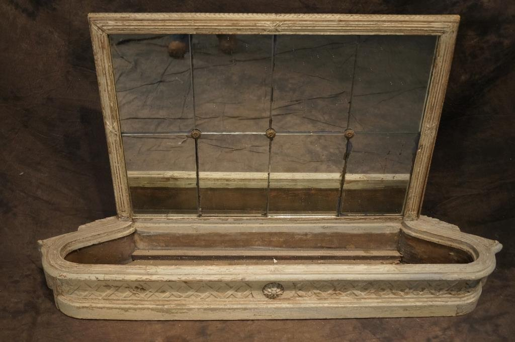 Antique French hanging wood carved mirrored flower box