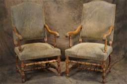 Pair Spanish leather side chairs w brass tack