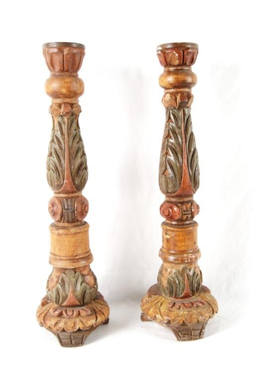 Spanish Colonial wood carved candle holders - pair