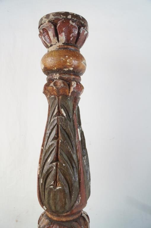 Spanish Colonial wood carved candle holders - pair - 7