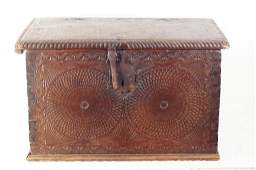 Spanish 17th c. highly carved captains chest