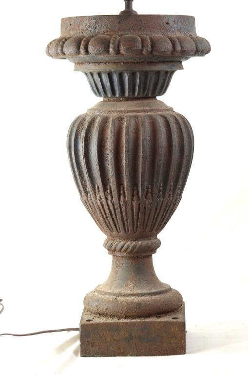 """19th c Rustic cast iron lamp 22""""h 38"""""""