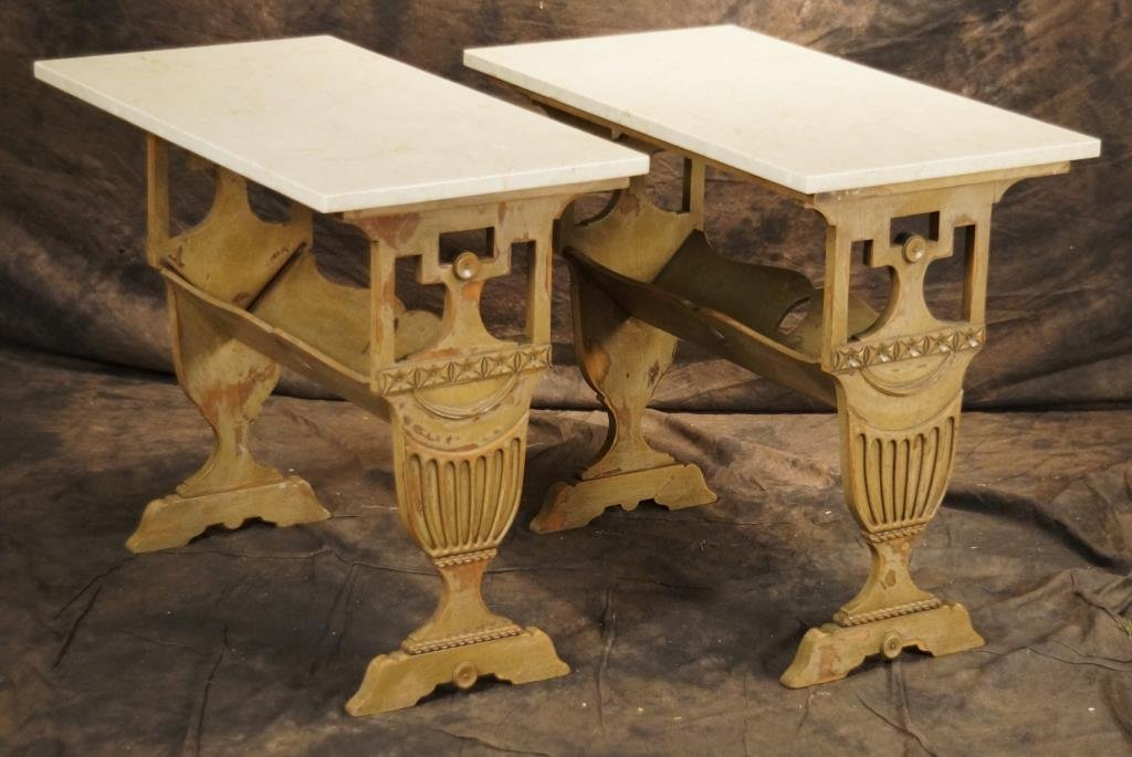 Pair marble top book or magazine stands