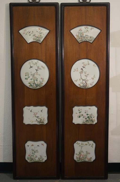 """Chinese wood panels 60""""x16.5"""" w enamel pictorials -"""