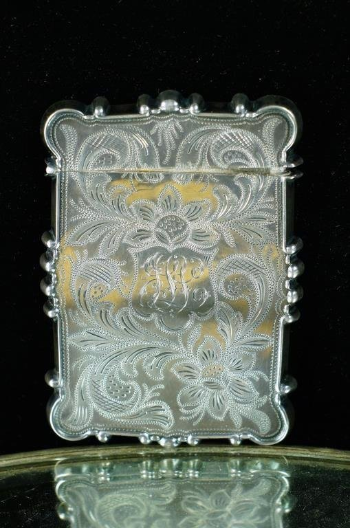 Sterling card case highly engraved ca. 1910