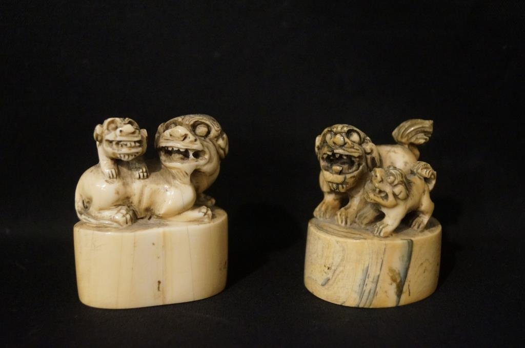 "Antique ivory ""Foo Dog"" stamps"