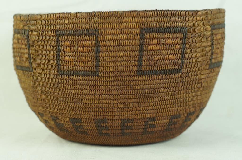 Antique Mission basket with polychrome