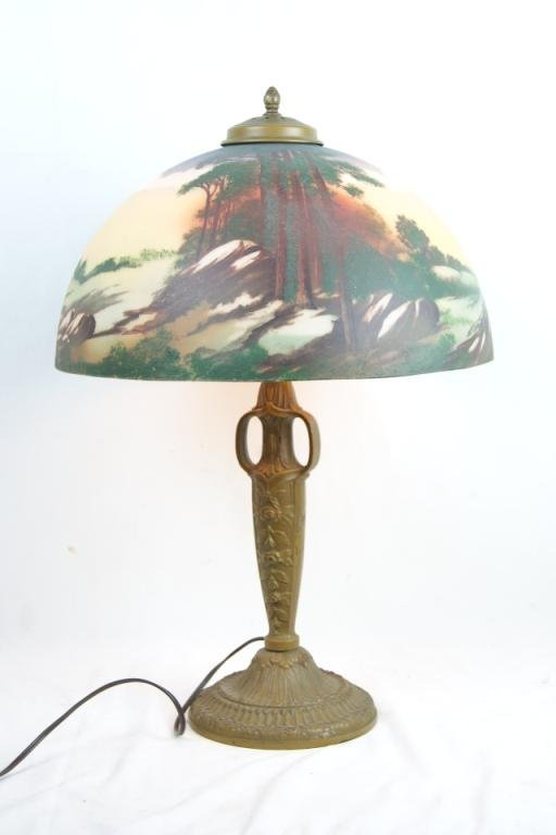 Pittsburg antique lamp with Obverse painted shade