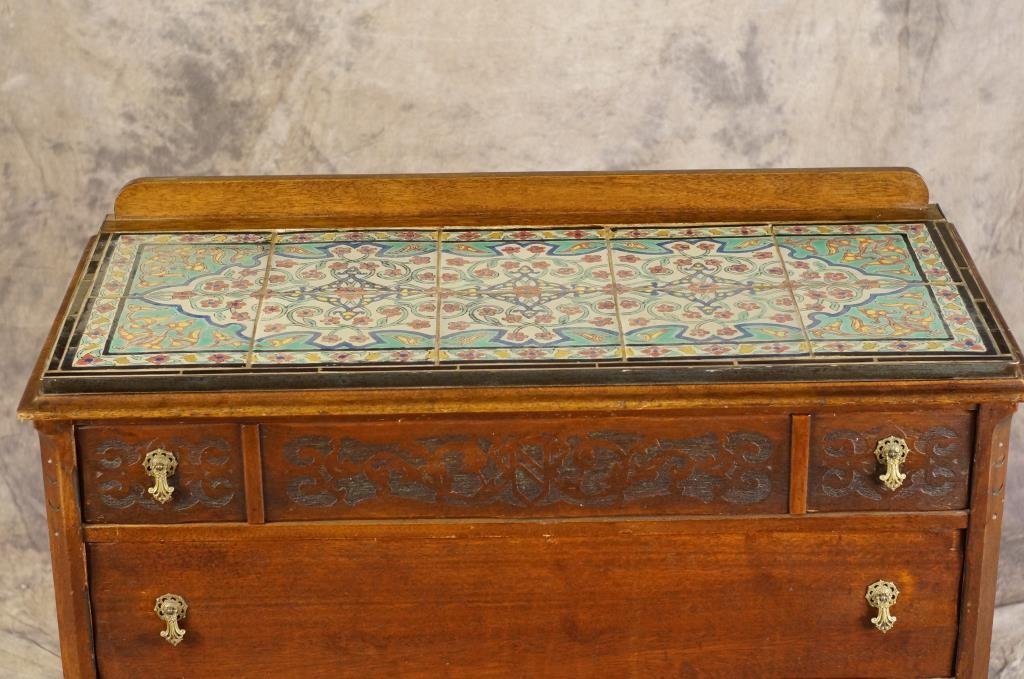 10-Tile top antique  dresser w/ 3 drawers
