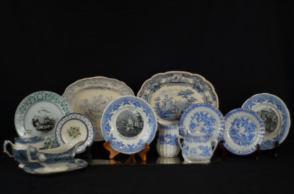 Old English ironstone platters, blue/white porc.