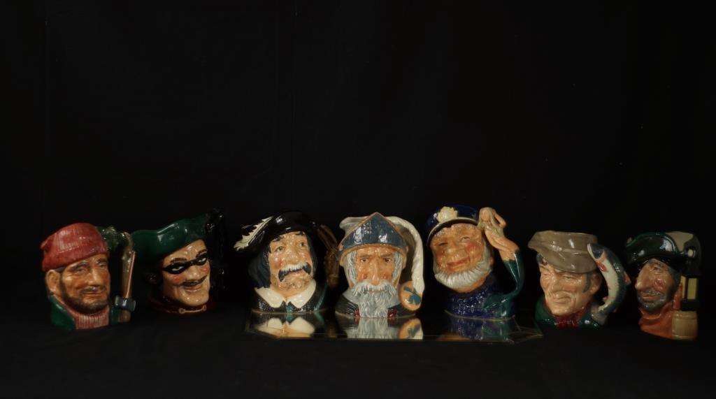 7 Royal Doulton Mugs - Don Quixote, Sancho Panca