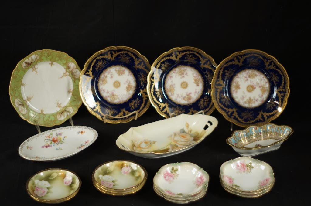 """Old Meissen 10"""" plates - 5 and oval dish  (6pcs)"""