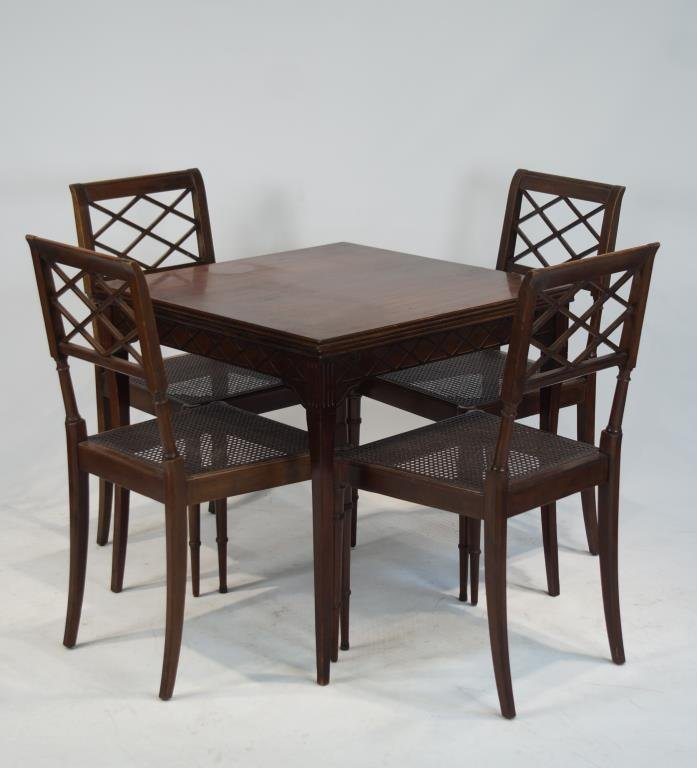 Draw leaf table & 4 cane chairs