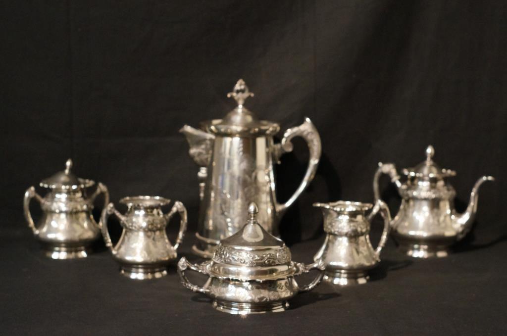 19th c Silver plate tea set & coffee