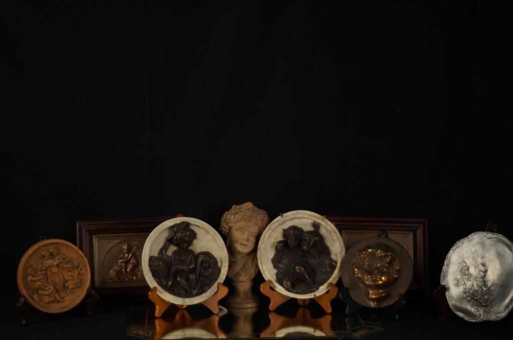 Collection of Cupid & cherub plaques - app 8pcs