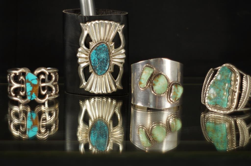Collection of 4 Native Am. Turquoise bracelets