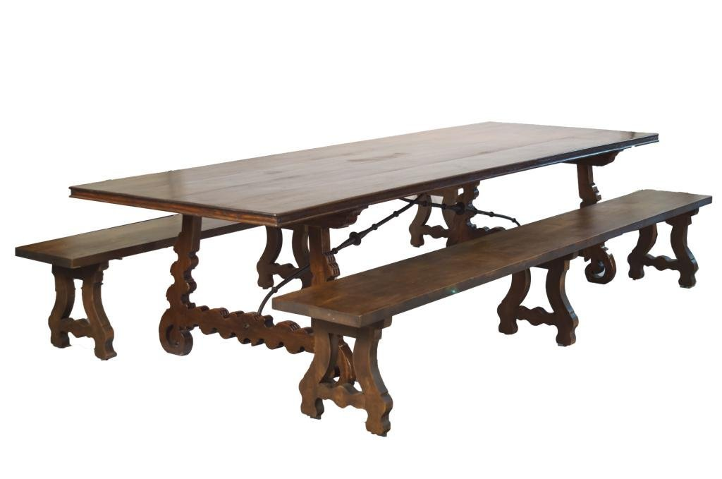 Outstanding 19th c. carved Spanish 10' table