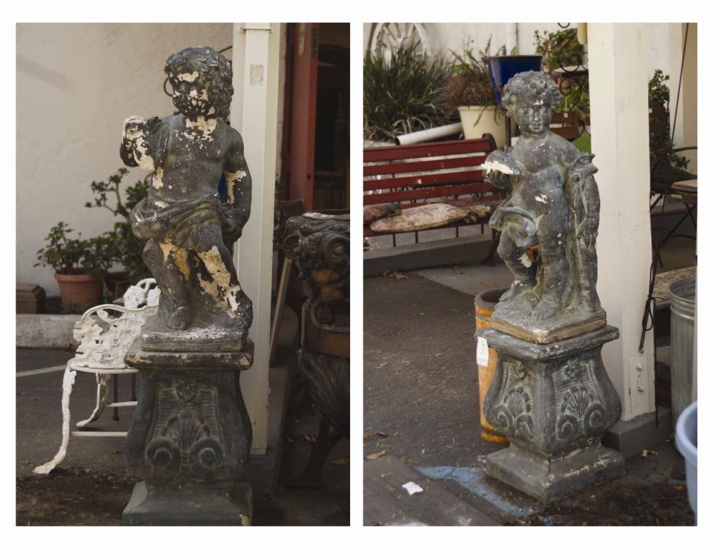 Early 1900's cement garden cherubs & pedestals