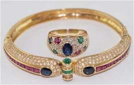 14kt yg Ruby Sapphire Emerald  Diamond