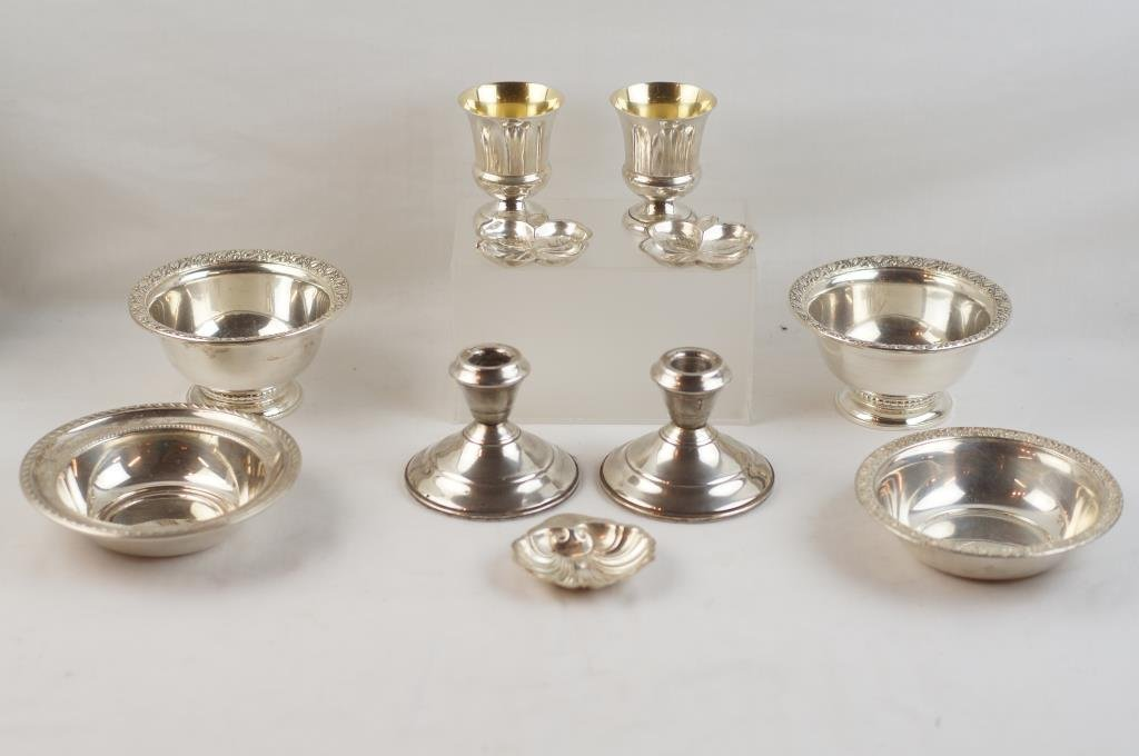 Collection of 11 Sterling bowls candlesticks +