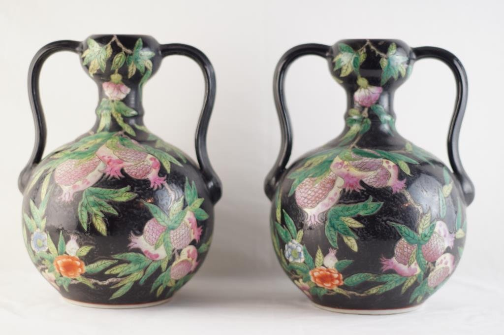 Pair Chien Lung style Famille noire vases