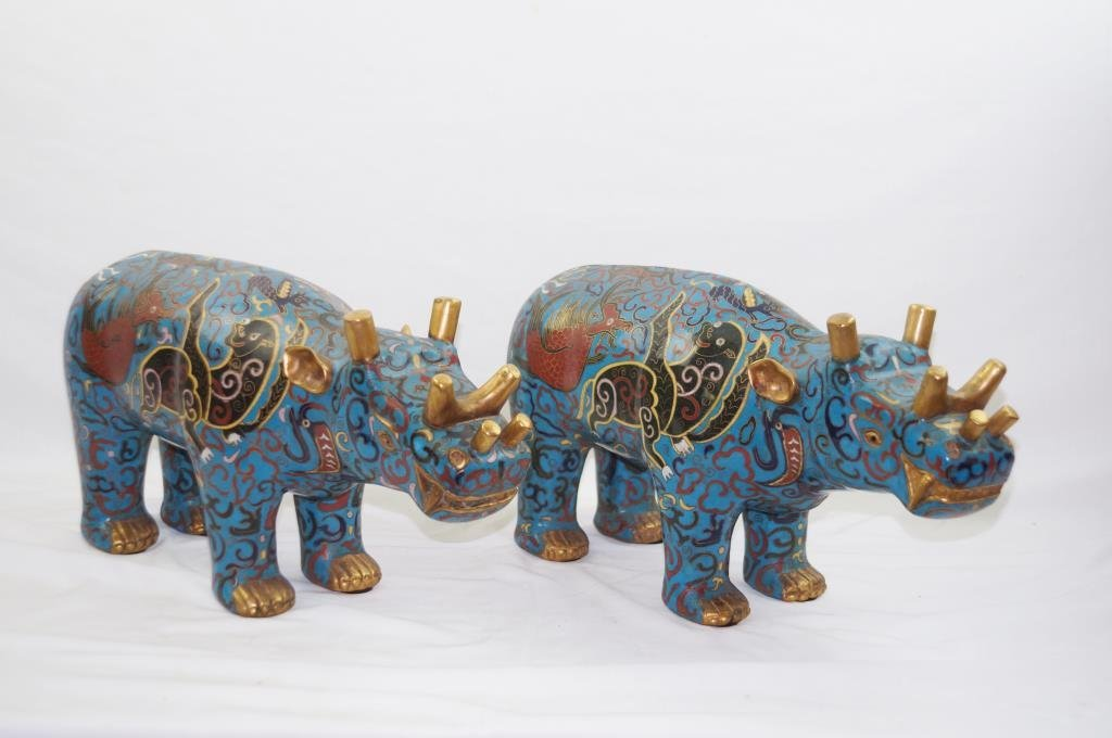 """Pair Chinese Cloisonne' standing Rhinos 9"""" long"""