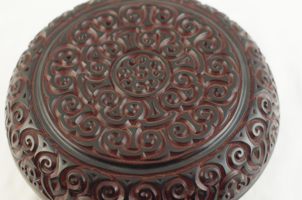 "Chinese Cinnabar food box 10"" incised design"