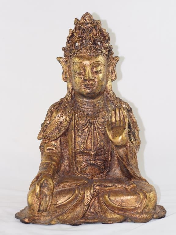 Tang style Kwan Yin - golden bronze sitting with