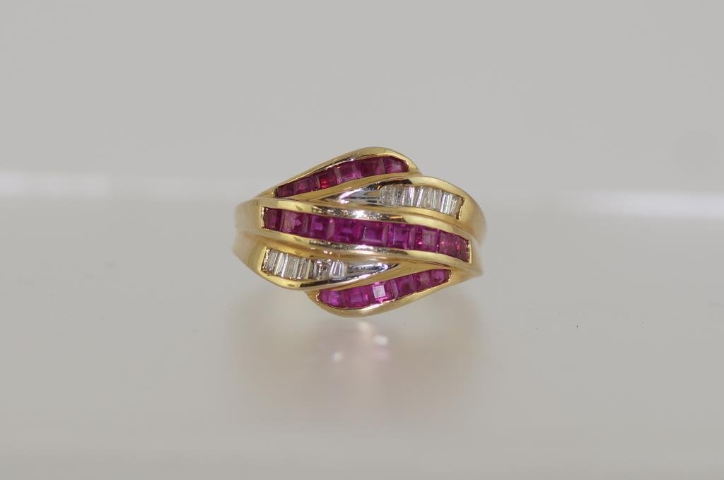 14kt y.g. Ruby & diamond ring - square faceted