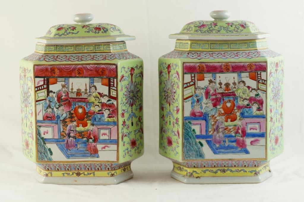 Pair Rare Canton Rose leaf tea covered jars
