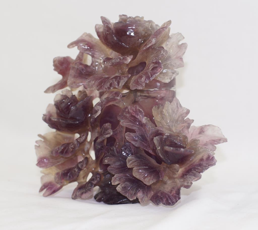 """Amethyst carvings 6""""x7"""" - floral covered vase"""