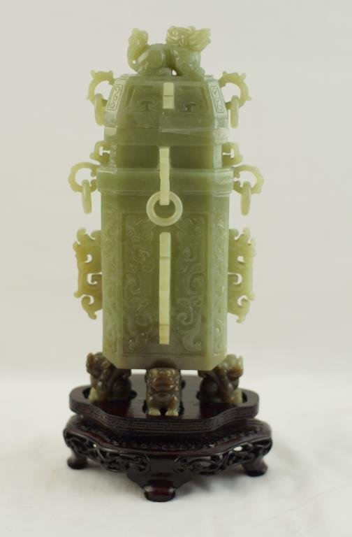 """Green jade carving  9""""x5"""" - square archaistic vase"""