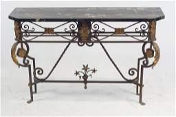 Wrought iron & marble top Console circa 1920