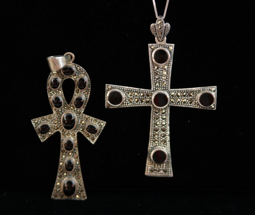 Sterling 925 cross and Egyptian Ankh cross - 2pcs