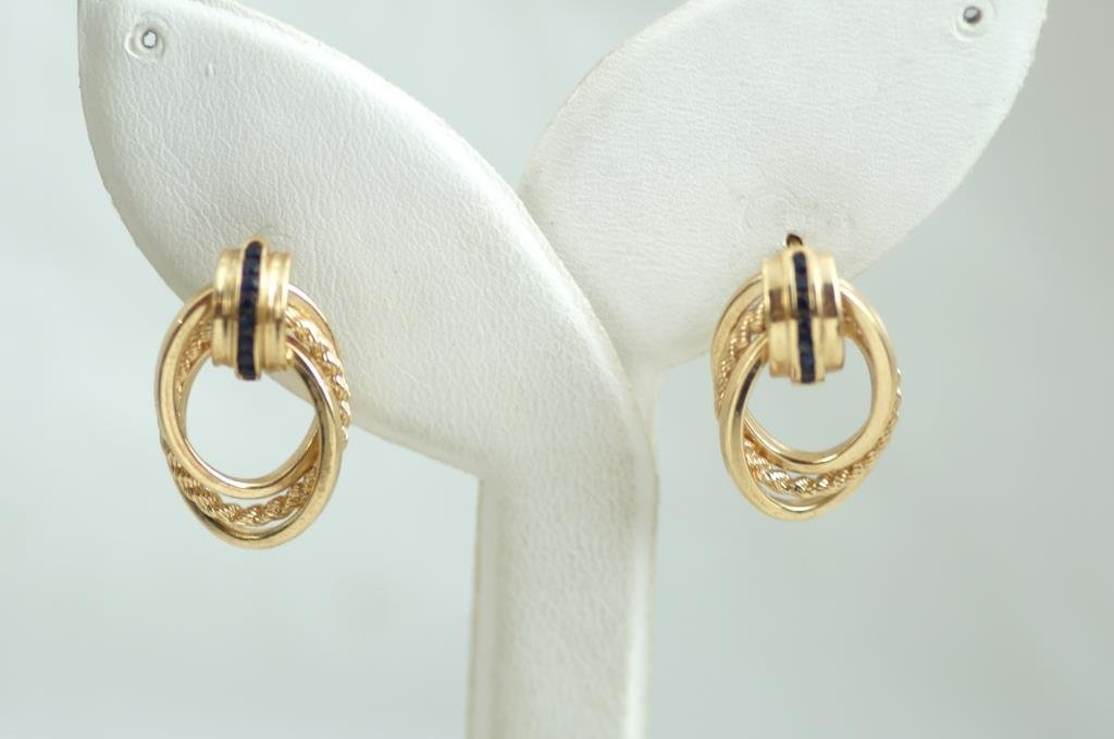 14 kt Gold and sapphires earrings