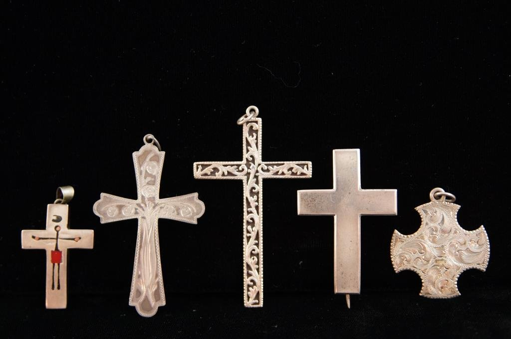5 Sterling crosses - engraved - Mexico