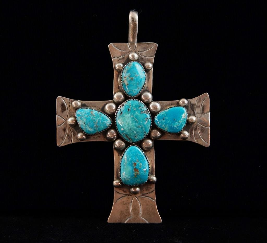 Navajo sterling & turquoise cross (5 stones)