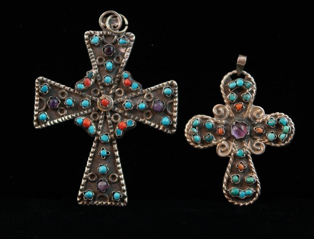 Zuni Sterling & coral/turquoise cross pendants