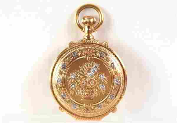 Elgin fancy multi gold case pocket watch