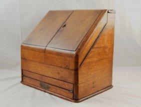 19th Cent. American Oak Portable Desk -civil War
