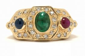 1.35ct Multi Gemstone & Diamond 14kt Gold Ring