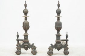 Pair Of Large 19thc. Bronze Andirons-ball & Claw