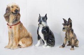 Ceramic Dogs - Pug, Afghan & Schnauzer