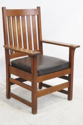 L & J. G. Stickley Slat Chair (signed) #816