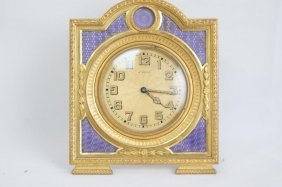 French Enameled Dore 8-day Traveling Clock