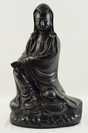 Ming Style Sitting Dark Bronze Kwan Yin With Four