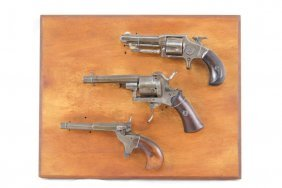 3 Antique Parlor Pistols - Mounted