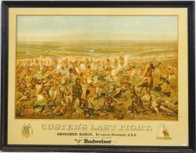 Antique Custer's Last Fight Anheuser-busch Poster