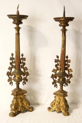 Antique Spanish Gilt Bronze Candelabras - Pair